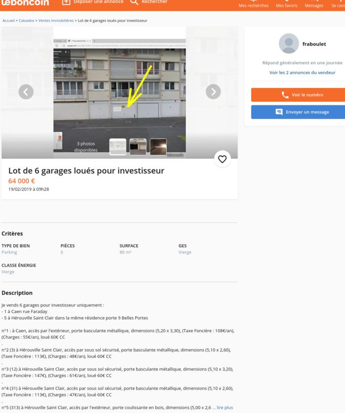 6 Garages à vendre sur Caen