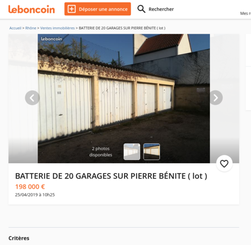 Lot de 20 garages à vendre à Pierre Benite